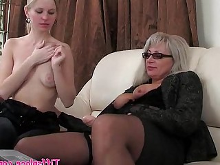 Blonde Lesbian MILF Old and Young Ride Strapon Teen