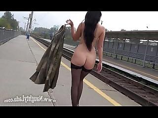 Public Stocking MILF Babe Nude