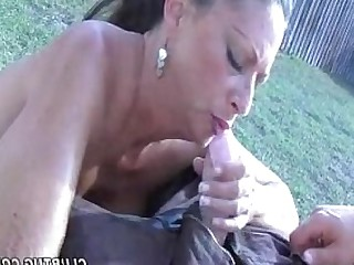 Big Tits Cumshot Handjob Hot Jerking MILF Outdoor