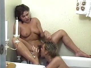 Bathroom Blonde Bus Lesbian MILF Vintage