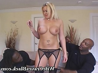 Big Cock Interracial Huge Cock Cumshot Blonde Hot Lingerie Threesome