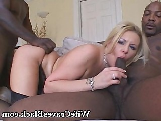 Black Blonde Big Cock Huge Cock Interracial Lingerie MILF Threesome