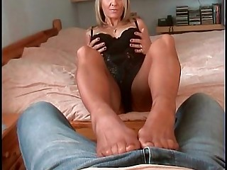 Blonde Hot MILF Stocking Tease